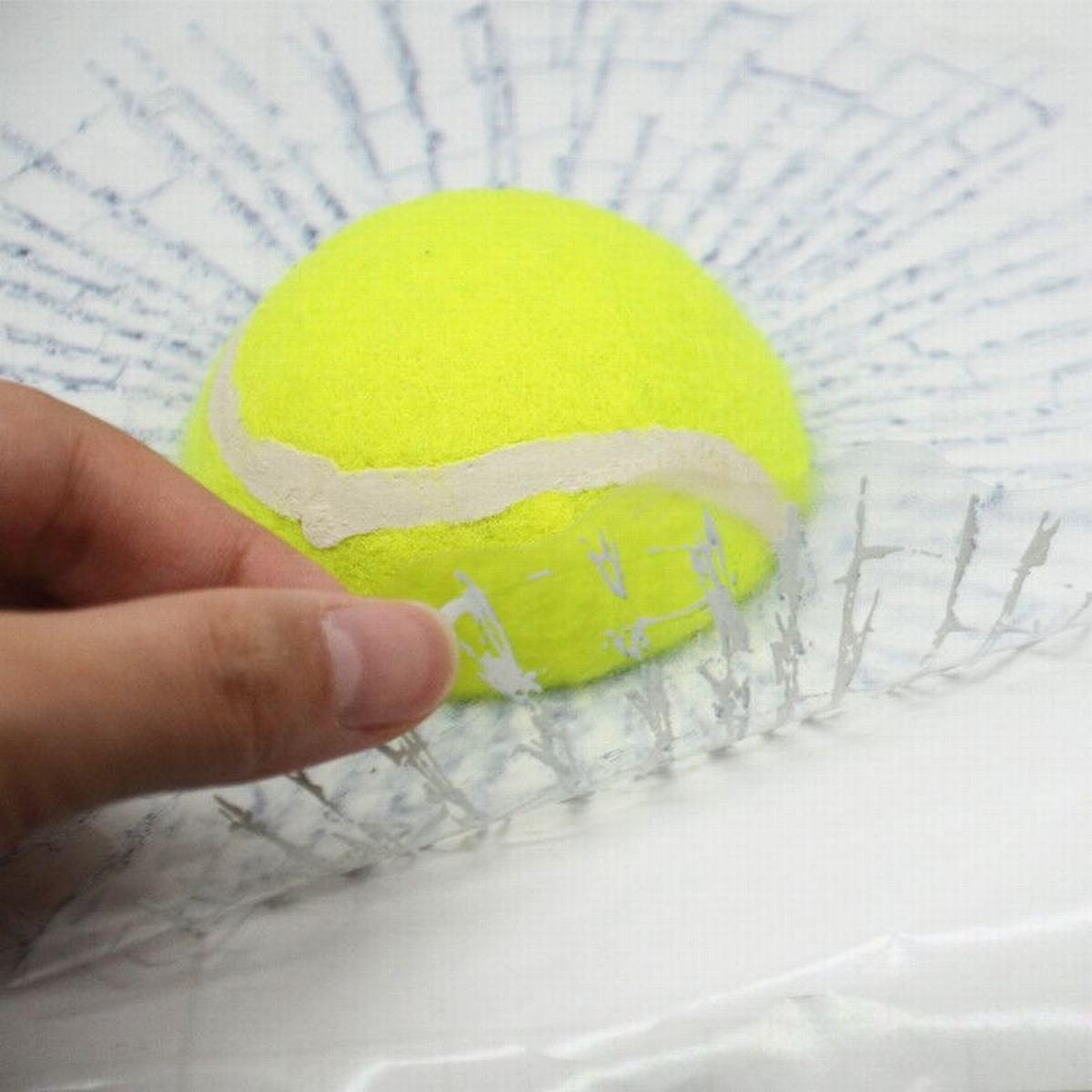 3D наклейка на стекло автомобиля Теннисный мяч